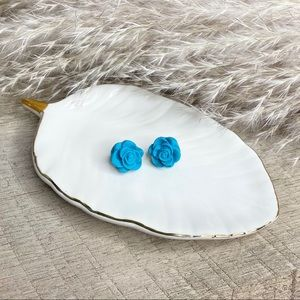 Sky blue rose polymer clay studs